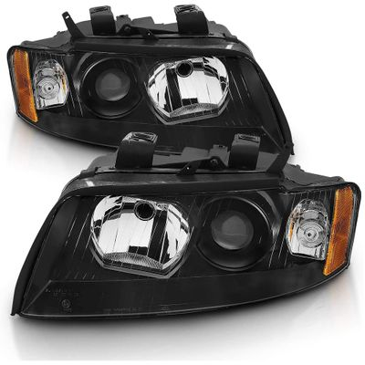 02-05 Audi A4 [Halogen Model] Factory-Style Projector Headlights - Black