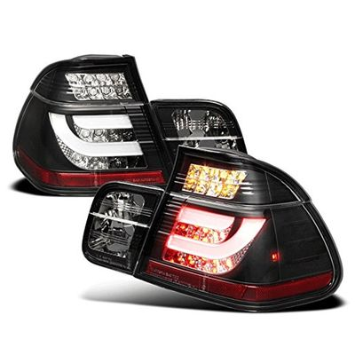 02-05 BMW 3-Series E46 4DR Fiber-Optic Style LED Tail Lights - Black