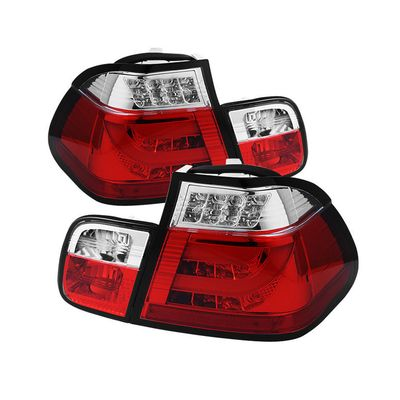 02-05 BMW 3-Series E46 4DR Fiber-Optic Style LED Tail Lights - Red Clear