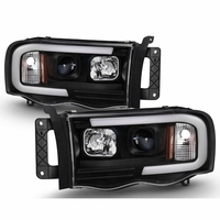 02-05 Dodge Ram 1500 / 03-05 2500 3500 LED Tube Projector Headlights - Black