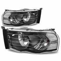 02-05 Dodge Ram 1500 2500 3500 Euro Crystal Headlights - Black