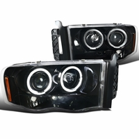02-05 Dodge Ram 1500 2500 Angel Eye Halo & LED Projector Headlights - Gloss Black / Clear
