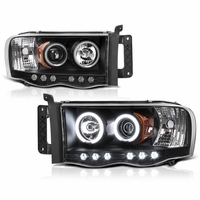 02-05 Dodge Ram 1500 2500  Dual Halo LED Projector Headlights - Black