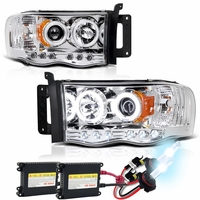 HID Xenon + 02-05 Dodge Ram Angel Eye Halo & LED Projector Headlights - Chrome