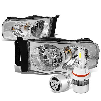 02-05 Dodge Ram Chrome Housing Clear Reflector Headlight + 6000K White LED w/ Fan