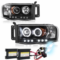 HID Xenon + 02-05 Dodge Ram Angel Eye Halo & LED Projector Headlights - Black