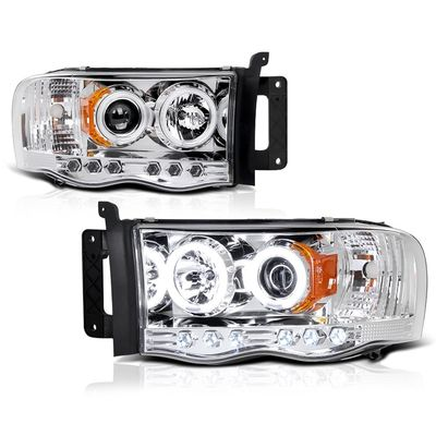 02-05 Dodge Ram Dual Angel Eye Halo & LED Projector Headlights - Chrome