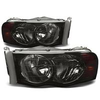 2002-2005 Dodge RAM 1500 2500 3500 Euro Style Crystal Headlights - Smoked