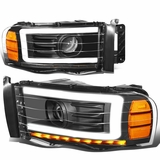 02-05 Dodge RAM  LED DRL Tube Projector Headlights - Black / Amber