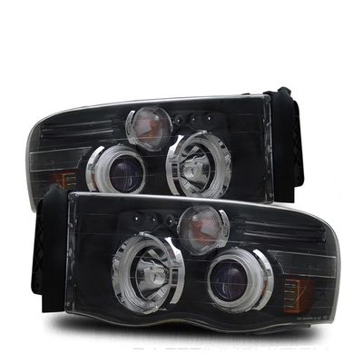 02-05 Dodge Ram Pickup CCFL Halo & LED Euro Projector Headlights - Black