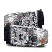 02-05 Dodge Ram Pickup CCFL Halo & LED Euro Projector Headlights - Chrome