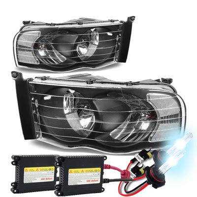 02-05 Dodge Ram Pickup Euro Style Crystal Headlights - Black