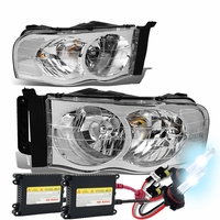 02-05 Dodge Ram Pickup Euro Style Crystal Headlights - Chrome