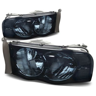 02-05 Dodge Ram Pickup Euro Style Crystal Headlights - Smoked