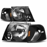 02-05 Ford Explorer  Replacement Crystal Headlight Set - Black