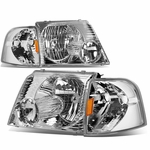 02-05 Ford Explorer  Replacement Crystal Headlight Set - Chrome