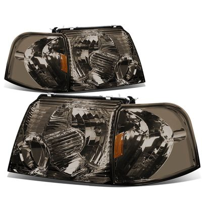 02-05 Ford Explorer  Replacement Crystal Headlight Set - Smoked