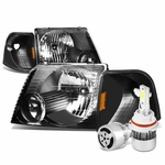 02-05 Ford Explorer Replacement Headlights Black Housing Amber Reflector+6000K White LED w/ Fan