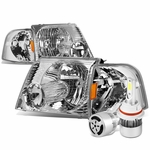 02-05 Ford Explorer Replacement Headlights Chrome Housing Amber Reflector+6000K White LED w/ Fan