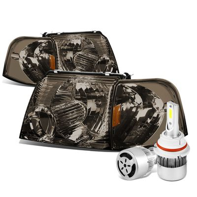 02-05 Ford Explorer Replacement Headlights Smoke Lens Amber Reflector+6000K White LED w/ Fan