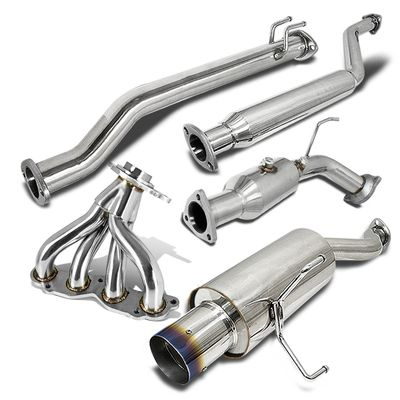 "02-05 Honda Civic Si Ep3 Hb  Stainless 4""Tip Catback Muffler Exhaust - Burnt Tip + Test Pipe + Header"