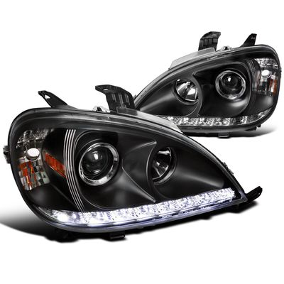 02-05 Mercedes Benz W163 ML350 ML55 SMD LED Strip Projector Headlights - Black