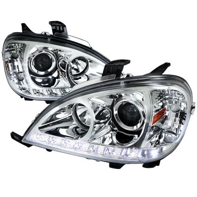 02-05 Mercedes Benz W163 ML350 ML55 SMD LED Strip Projector Headlights - Chrome