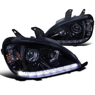 02-05 Mercedes Benz W163 ML350 ML55 SMD LED Strip Projector Headlights - Gloss Black