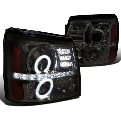 02-06 Cadillac Escalade Dual Angel Eye Halo & LED Strip Projector Headlights - Black