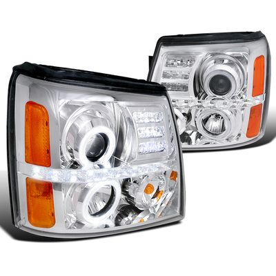02-06 Cadillac Escalade Dual Angel Eye Halo & LED Strip Projector Headlights - Chrome