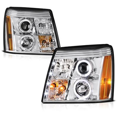 02-06 Cadillac Escalade Angel Eye Halo & LED DRL Projector Headlights - Chrome