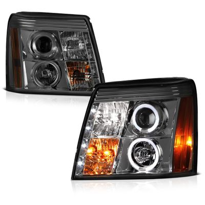 02-06 Cadillac Escalade Angel Eye Halo & LED DRL Projector Headlights - Smoked