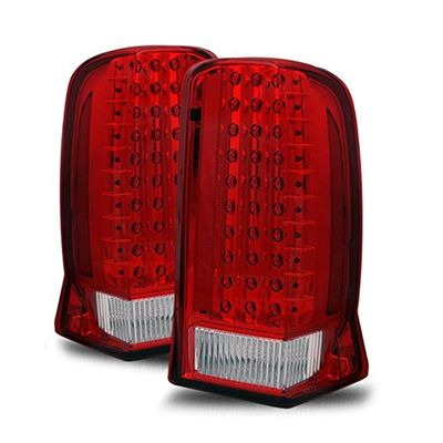 02-06 Cadillac Escalade Euro Style LED Tail Lights - Red / Clear