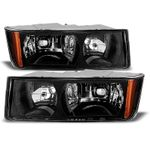 02-06 Chevy Avalanche [With Body Cladding] Crystal Headlights - Black