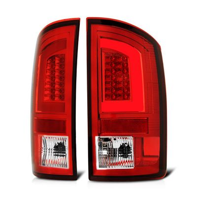 02-06 Dodge RAM 1500 / 03-09 RAM 2500 3500 LED Tube Tail Lights - Red Clear