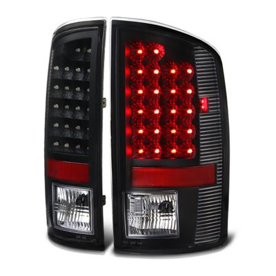 02-06 Dodge Ram 1500 / 2500 / 3500 Euro Style Bright LED Tail Lights - Black By Spyder