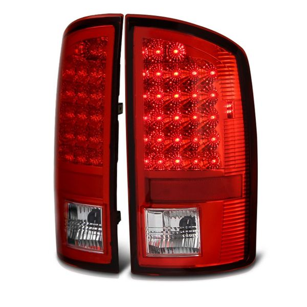 02-06 Dodge Ram 1500 / 2500 / 3500 Euro Style Bright LED Tail Lights - Red / Clear
