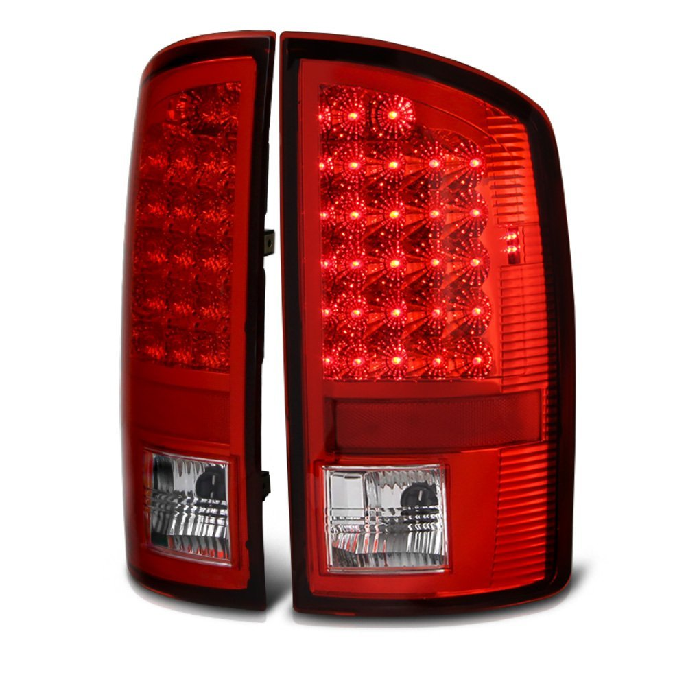 02 06 Dodge Ram 1500 2500 3500 Euro Style Bright Led Tail Lights Red Clear
