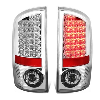 02-06 Dodge Ram 3rd Gen Pair of Chrome Housing Clear Lens LED Brake Tail Lights