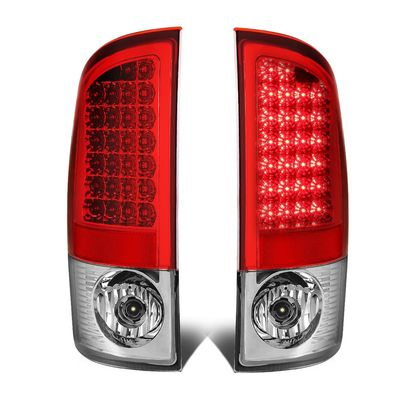 02-06 Dodge Ram 3rd Gen Pair of Chrome Housing Red Lens LED Brake Tail Lights