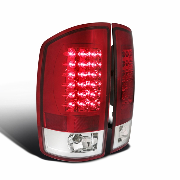 02-06 Dodge Ram Pickup Truck Euro LED Tail Lights - Red / Clear