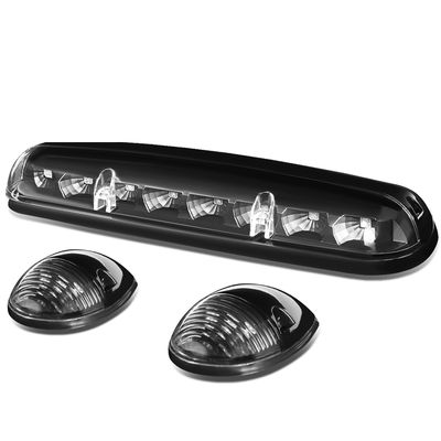 02-06 Silverado / Sierra GMT800 LED Cab Roof Top Center Running Light + Pair Side Lamps - Black Housing Blue Lights