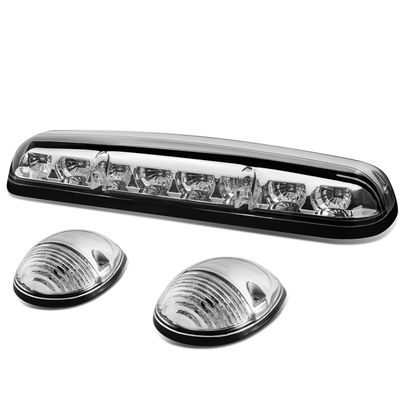 02-06 Silverado / Sierra GMT800 LED Cab Roof Top Center Running Light + Pair Side Lamps - Chrome Housing Amber Lights