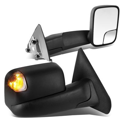 02-08 Dodge RAM 1500 / 03-09 2500-3500 Manual Adjust / Smoked Lens Amber LED Signal Towing Side Mirrors