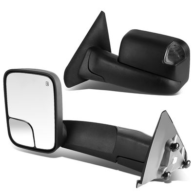 02-08 Dodge Ram 1500 / 03-09 2500 3500 [Power + Heated] Telescoping Towing Mirror - Black Smoked