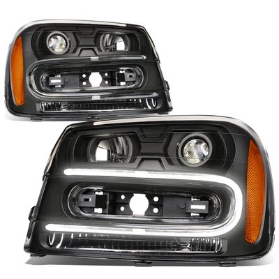 02-09 Chevy Trailblazer LED U-Running Projector Headlight (Black Housing Amber Corner)