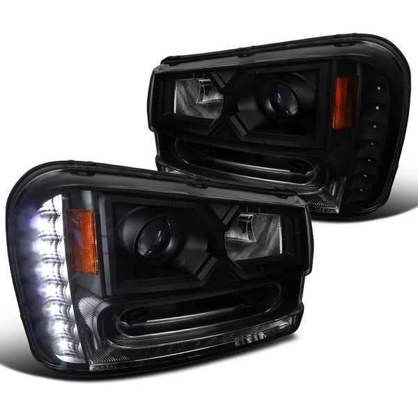 02-09 Chevy Trailblazer SMD LED DRL Black Smoke Projector Headlights