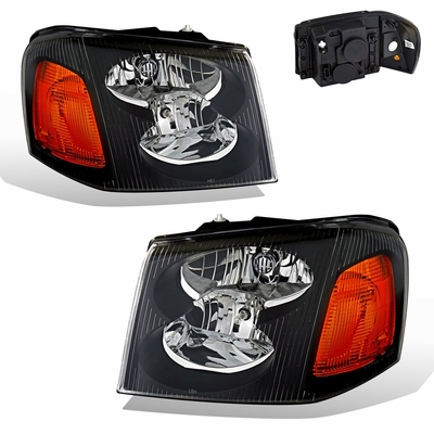 02-09 GMC Envoy Crystal Replacement Headlights - Black