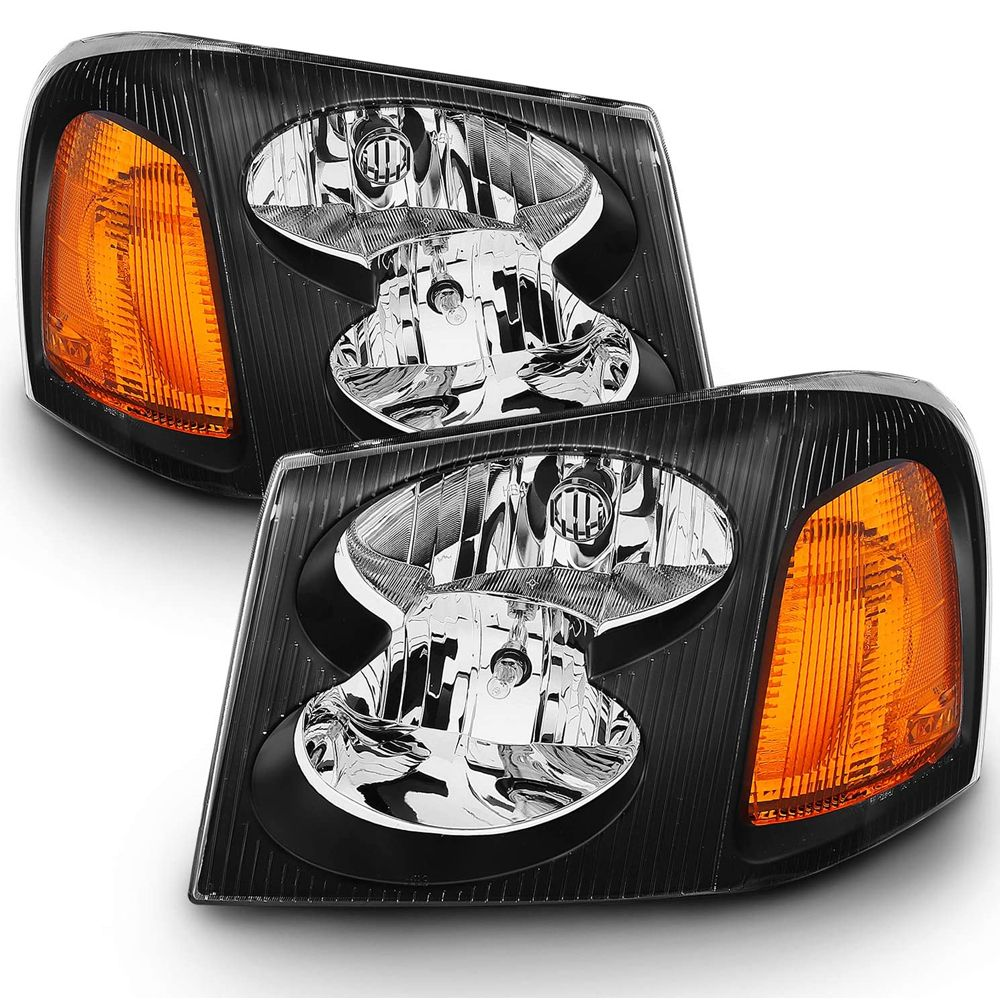 02 09 Gmc Envoy Crystal Replacement Headlights Black