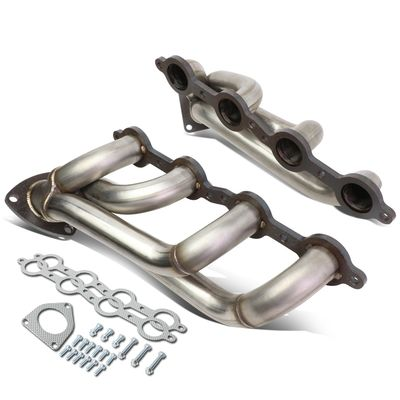 "02-16 Chevy / GMC 5.2-6.2L V8 Shorty Style 2.25"" OD 3-Bolt Flange Exhaust Manifold Headers + Gaskets"
